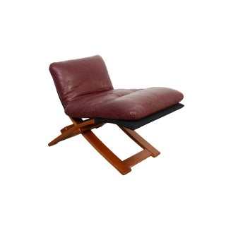 Mid-Century Danish Modern Maroon Leather Bentwood Chair / Foot Stool For Sale