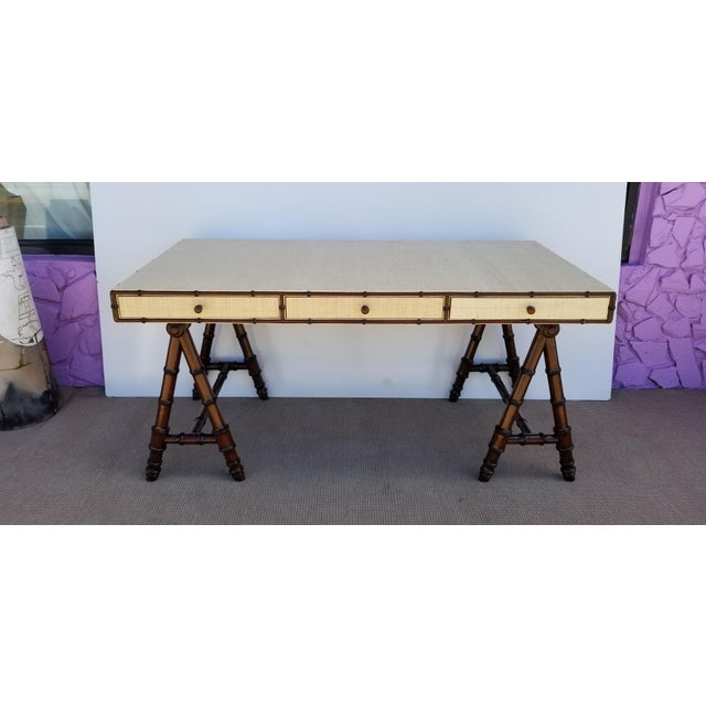 A stunning vintage Tropical Hollywood regency style. Presenting for sale the Mason desk by Williams-Sonoma home. Metal tag...