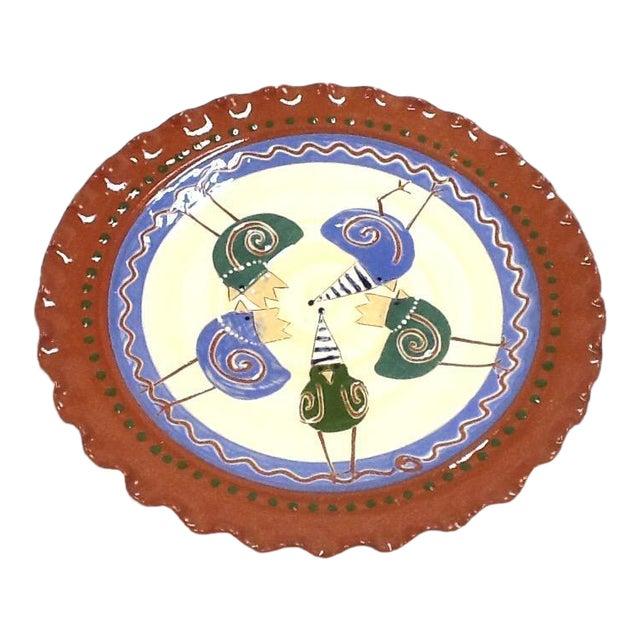 Handmade Pottery Tray. Signed Pottery Tray. Vintage Pottery Plate. Chicken-Imagery Pottery Tray - Image 1 of 5