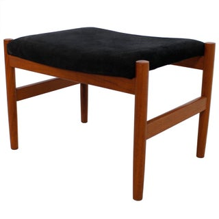 Danish Modern Teak With Black Suede Ottoman (K: Sf) For Sale