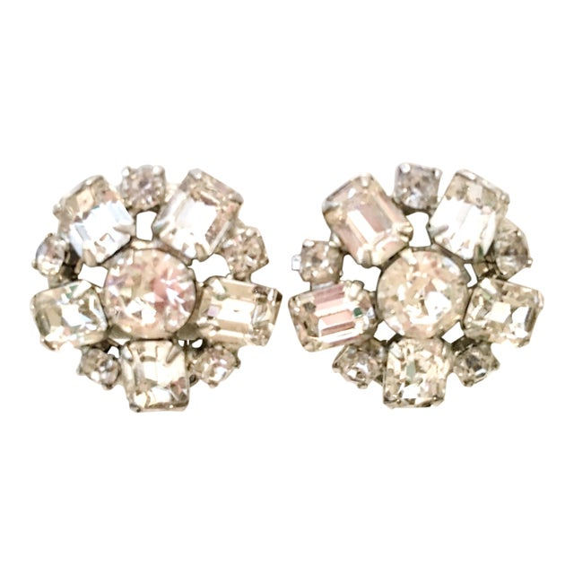 1950s Silver & Austrian Crystal Clear Rhinestone Abstract Flower Earrings by Weiss For Sale