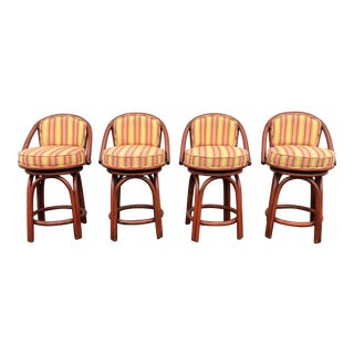 Modern Ficks Reed Bentwood Swivel Counter Stools- Set of 4 For Sale