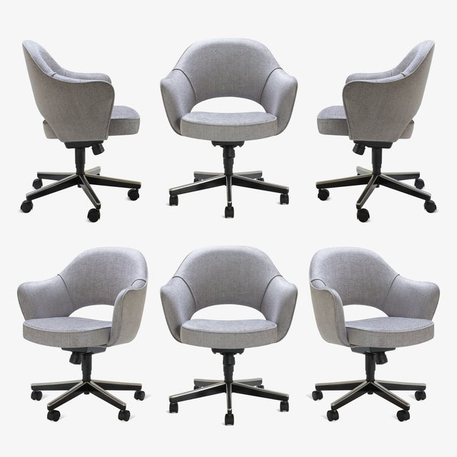 Saarinen Executive Arm Chairs in Sterling Weave, Swivel Base - Set of 6 For Sale - Image 9 of 9