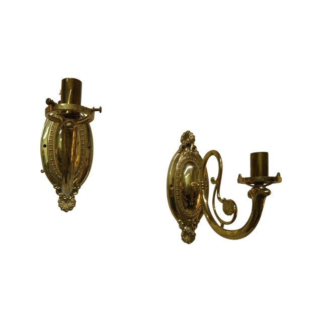 Vintage Brass Electric Wall Sconces - Pair - Image 1 of 8
