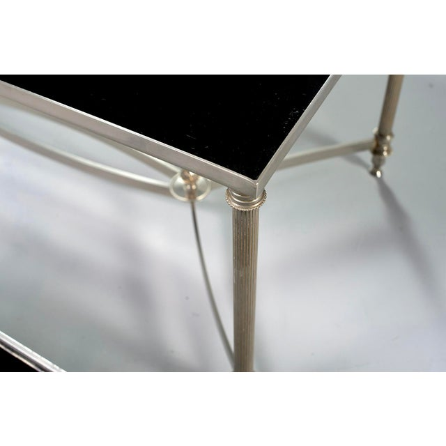French Maison Baguès Style Black Glass Top Cocktail Tables - Pair For Sale - Image 10 of 11
