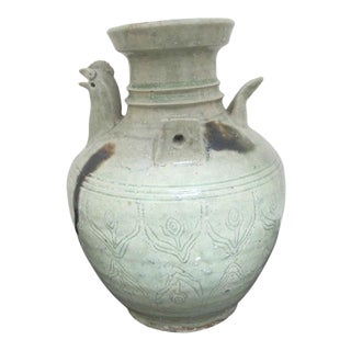 Early 20th Century Chinese Celadon Jin Style Pottery Chicken Head Ewer Pitcher Jug Incised Flowers For Sale
