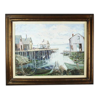 Vintage Mid Century Old Fishing Village Painting by Mary Connors For Sale