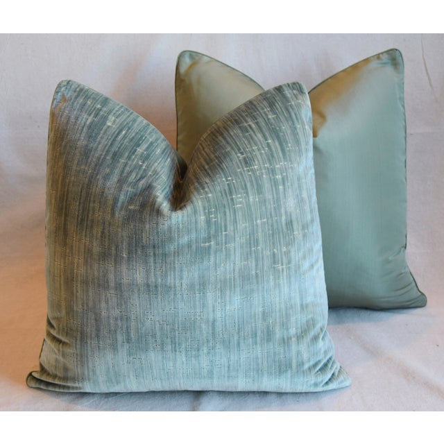 """Clarence House Velvet Fabric Feather/Down Pillows 21"""" Square - Pair For Sale - Image 11 of 13"""