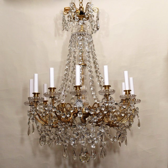 Late 19th Century Antique French Late 19th Century Baccarat Crystal and Gold Bronze 12 Light Chandelier For Sale - Image 5 of 5