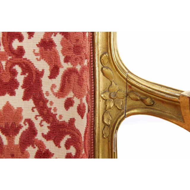 Fabric French Louis XV Style Carved Giltwood Antique Arm Chairs - Set of 2 For Sale - Image 7 of 13