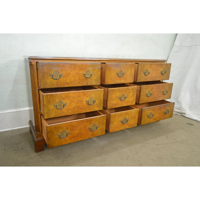 Brown Baker Vintage Burl Wood Chippendale Style Dresser For Sale - Image 8 of 13