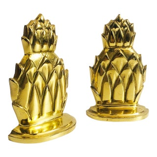 Vintage Brass Pineapple Bookends For Sale