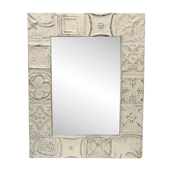 Traditional Cream White Mixed Tin Patch Mirror For Sale