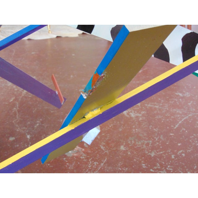 Memphis Style Abstract Geometric Table For Sale - Image 5 of 7