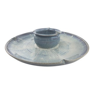 Boho Chic Studio Pottery Chip and Dip Plate For Sale