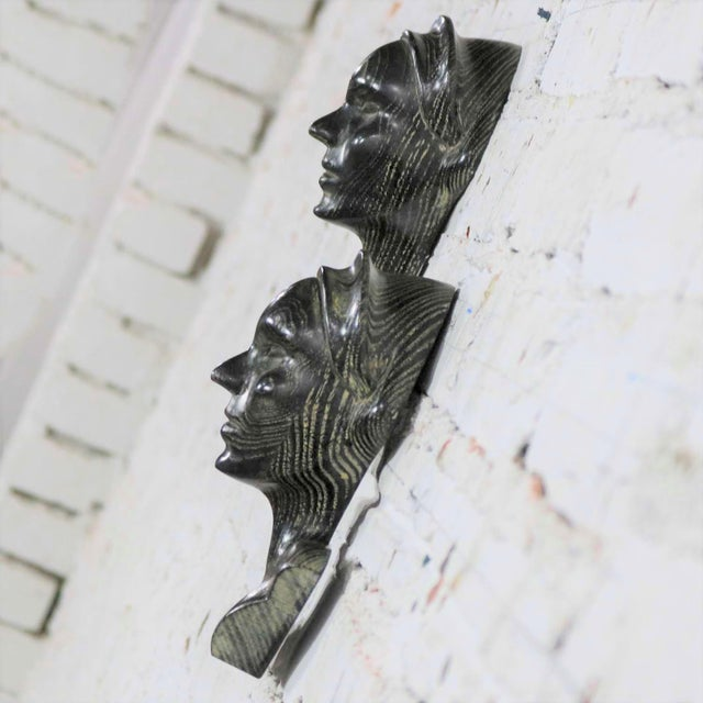 Art Deco Style Ebonized Oak Carved Female Bust Vintage Wall Sculptures, a Pair For Sale - Image 4 of 13
