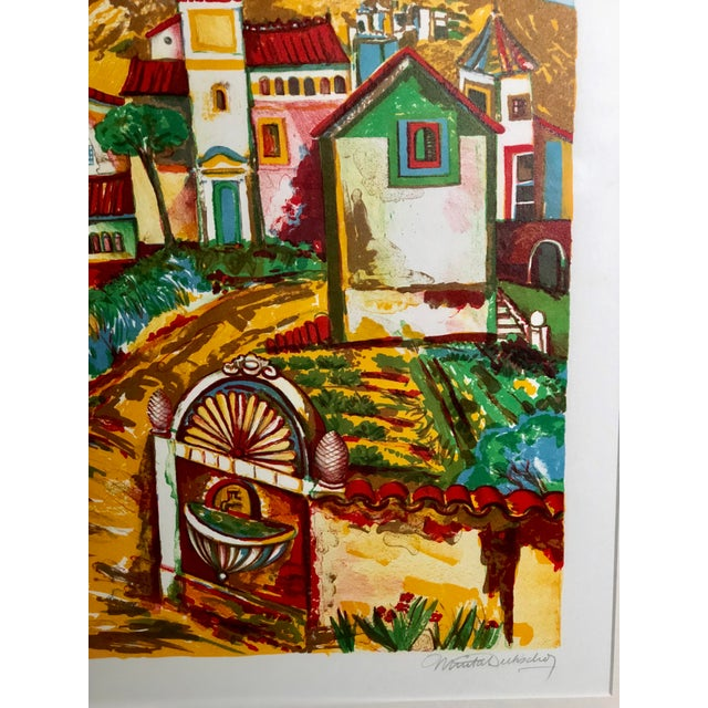 Vibrant Impressionist Retro Framed Print of a Colonial Town For Sale - Image 9 of 11