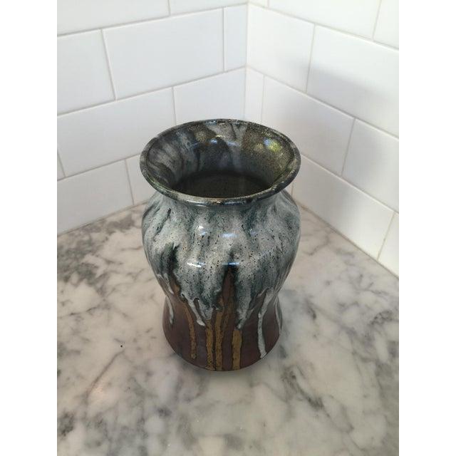 Mid-Century Modern Vintage Mid-Century Glazed Pottery Vase For Sale - Image 3 of 4