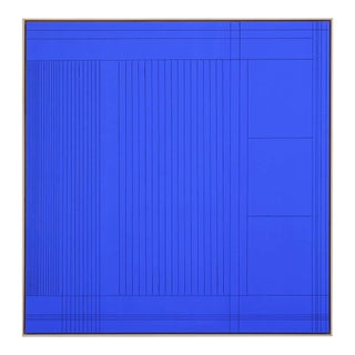2021 Matthew Reeves Contemporary Abstract Yves Klein Blue Grooved Wall Sculpture Painting, Framed For Sale