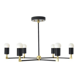 """Budapest Chandelier, Matte Black & Brass with 16"""" Rod For Sale"""