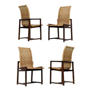1970s Vintage High Back Wicker Chairs - Set of 4 For Sale
