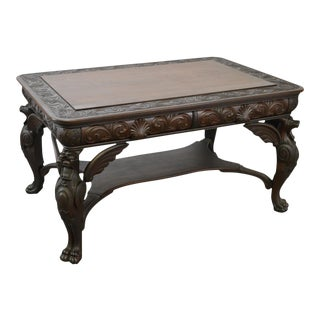 Horner Antique Carved Standing Winged Griffin Library Table Desk