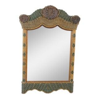 Wicker Framed Wall Mirror For Sale