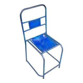 Industrial Blue Metal Side Chair