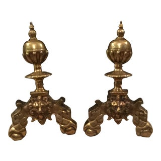 Antique Brass Andirons - a Pair For Sale