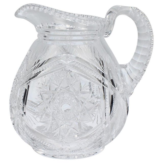 Fine Vintage Cut Glass Pitcher with a Narrow Body For Sale - Image 13 of 13