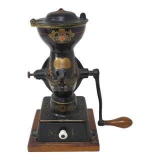 1880s Antique American Cast Iron Coffee Grinder For Sale