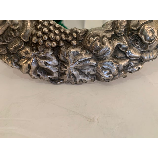 1940s Silver Plated Repousee Oval Tabletop Mirror For Sale - Image 5 of 11