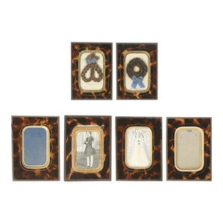 Antique French Faux Tortoiseshell Glass Picture Frames - Set of 6