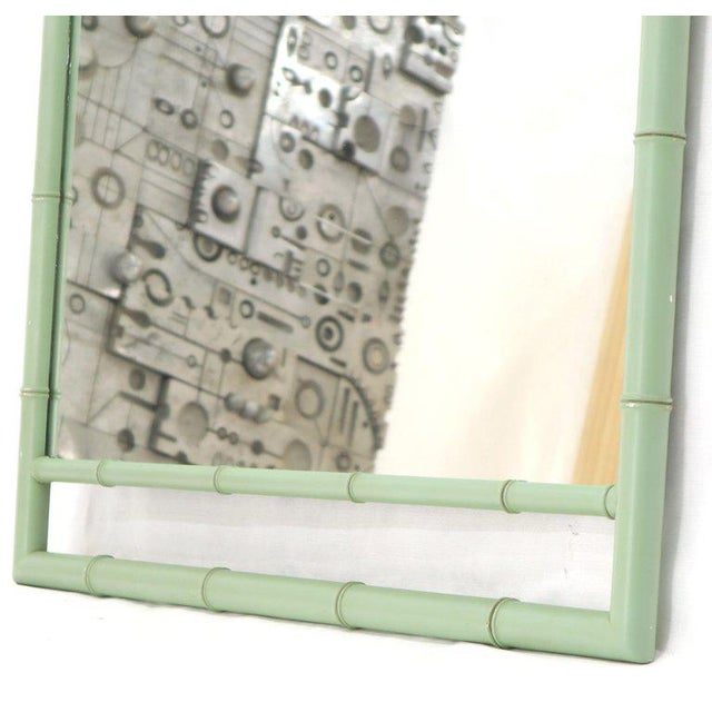 Mid-Century Modern Rectangular Blue Lacquer Faux Bamboo Mirror by Kittinger Mandarin Collection For Sale - Image 3 of 9