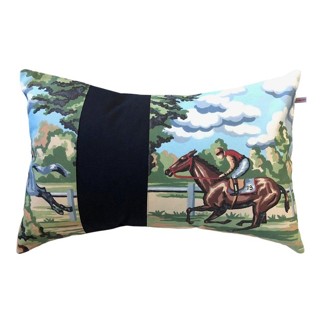 Contemporary Equestrian Scene Rectangular Pillow For Sale