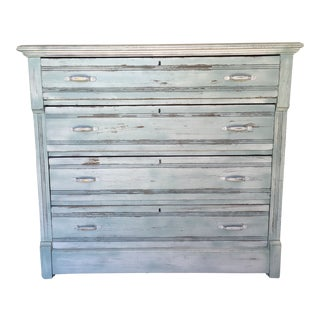 Vintage Country Shabby Chic Distessed Dresser With Floral Side Panels