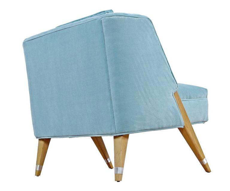 Nice Mid Century Modern Blue Slipper Chairs   A Pair   Image 3 Of 4