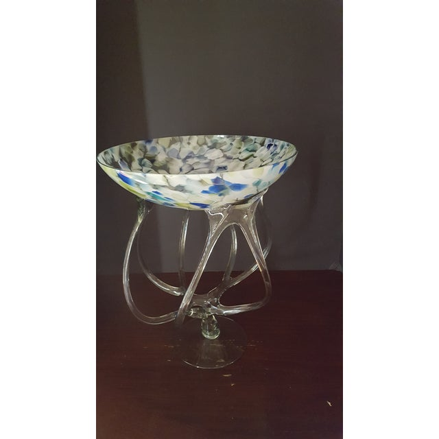 Hand Blown Art Glass Bowl For Sale - Image 4 of 5