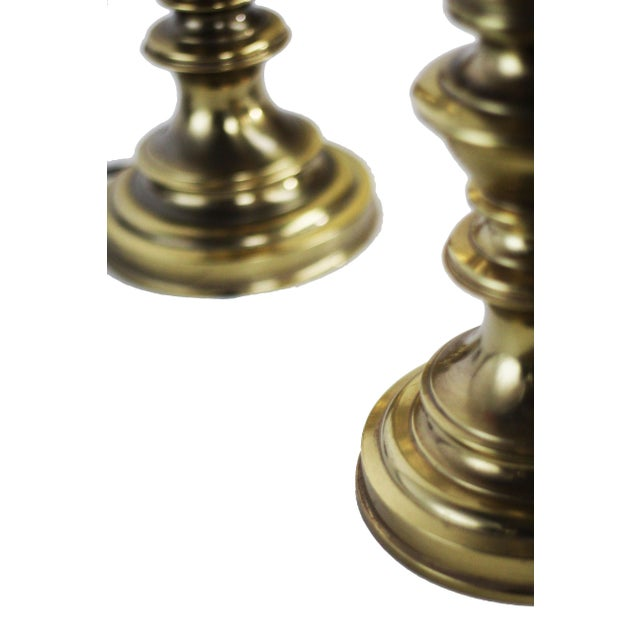 Stiffel Heavy Brass Table Lamps - a Pair - Image 6 of 6