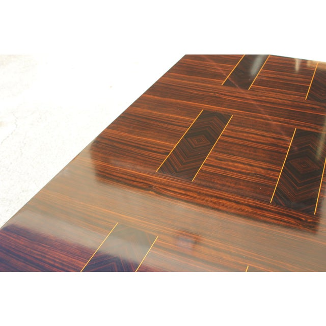 Gold 1940s Art Deco Exotic Macassar Ebony Writing Desk / Dining Table For Sale - Image 8 of 13