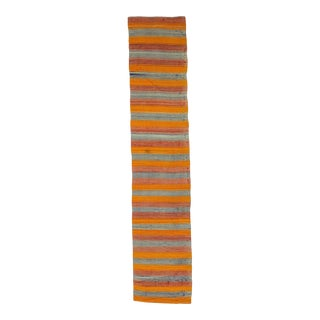 Orange & Blue Striped Kilim Runner For Sale