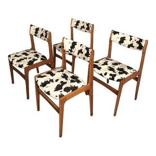Vintage Mid Century Curated Teak Danish Dining Chairs- Set of 4 For Sale