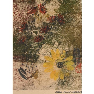 Purple & Yellow Flowers 1963 Monotype For Sale