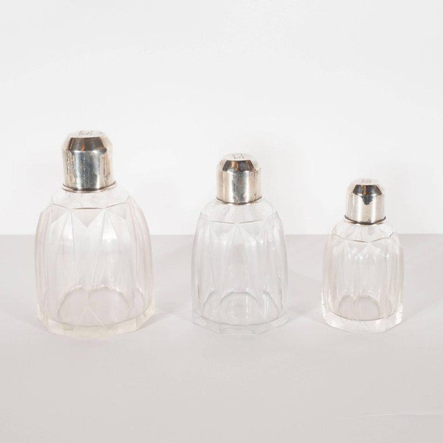1930s Art Deco Skyscraper Style Sterling Silver & Geometric Beveled Glass Perfume Set For Sale - Image 5 of 9