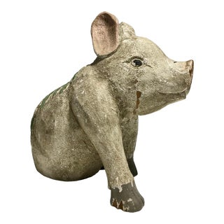 """Late 20th Century """"Good Luck Pig"""" Wooden Figurine For Sale"""