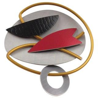 Hou Studios Modernist Machine Age Futurist Aluminum Pin Brooch For Sale