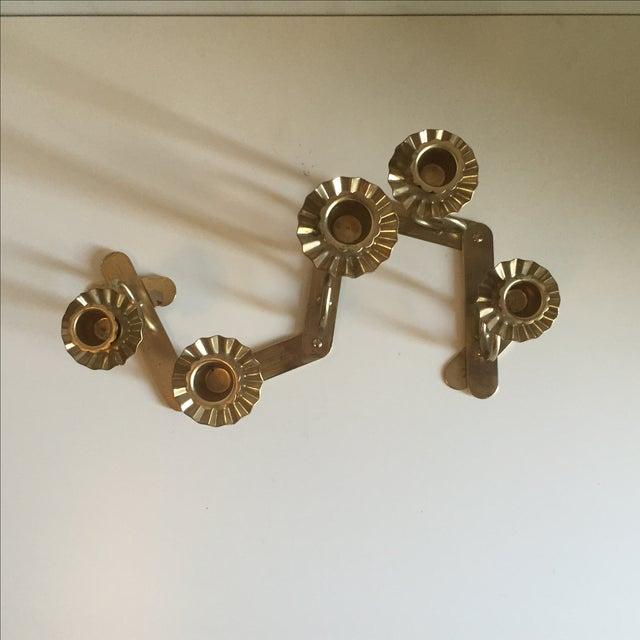 Mid Century Brass Folding Candelabra - Image 4 of 6