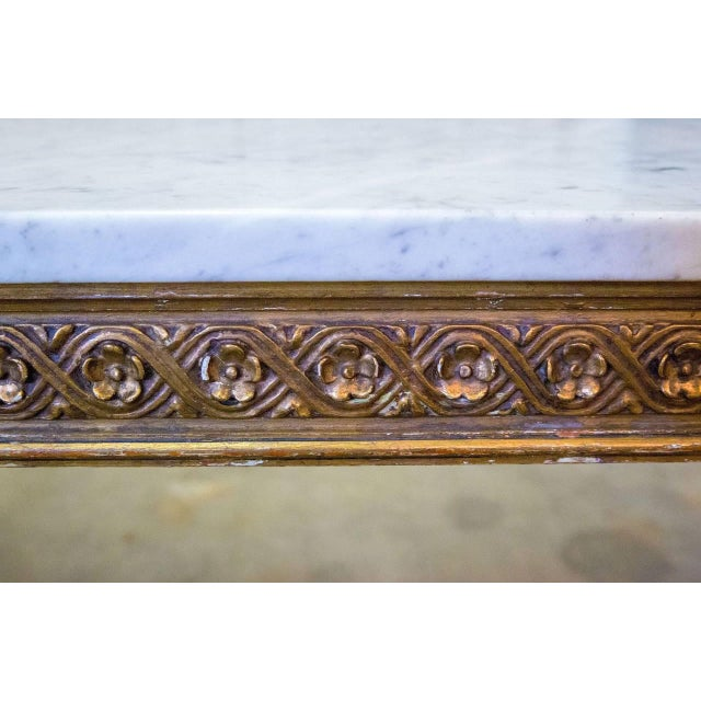 French Louis XVI Style Gilded Coffee Table With Marble Top For Sale - Image 10 of 10