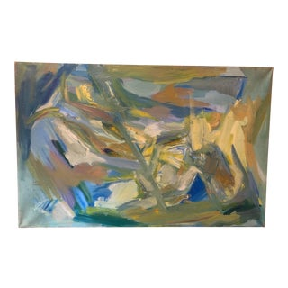 "Mid-Century Modern Abstract Oil Painting on Canvas ""Venice"" 1964 For Sale"