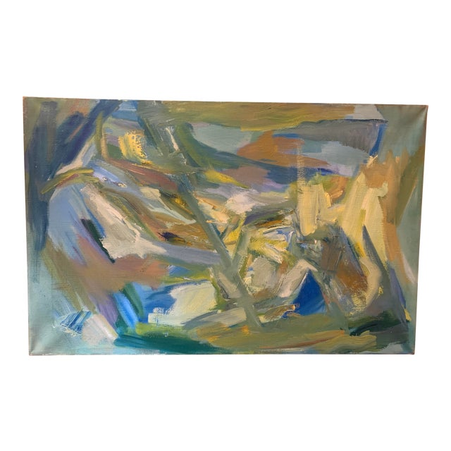 """Mid-Century Modern Abstract Oil Painting on Canvas """"Venice"""" 1964 For Sale"""